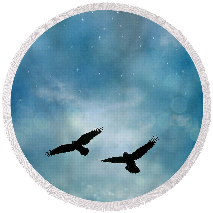 Ravens Crows Nature Round Beach Towel featuring the photograph Surreal Ravens Crows Flying Blue Sky Stars by Kathy Fornal
