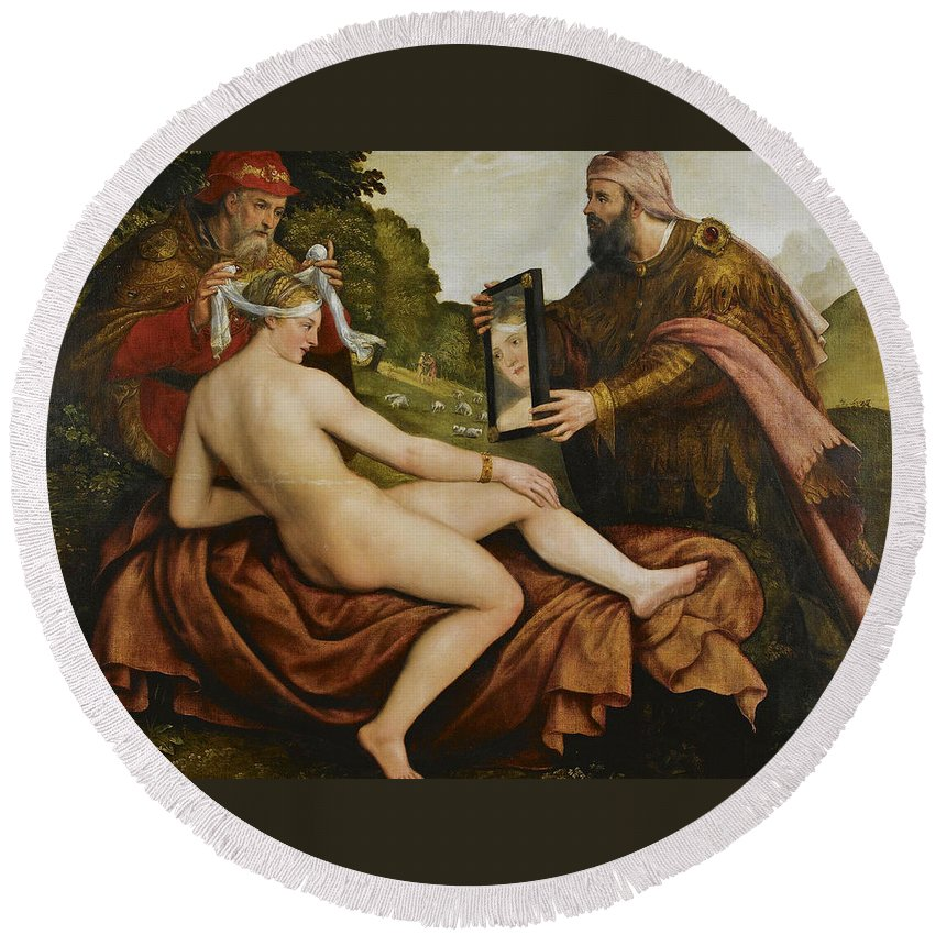 Follower Of Lambert Sustris Round Beach Towel featuring the painting Susanna And The Elders by Follower of Lambert Sustris