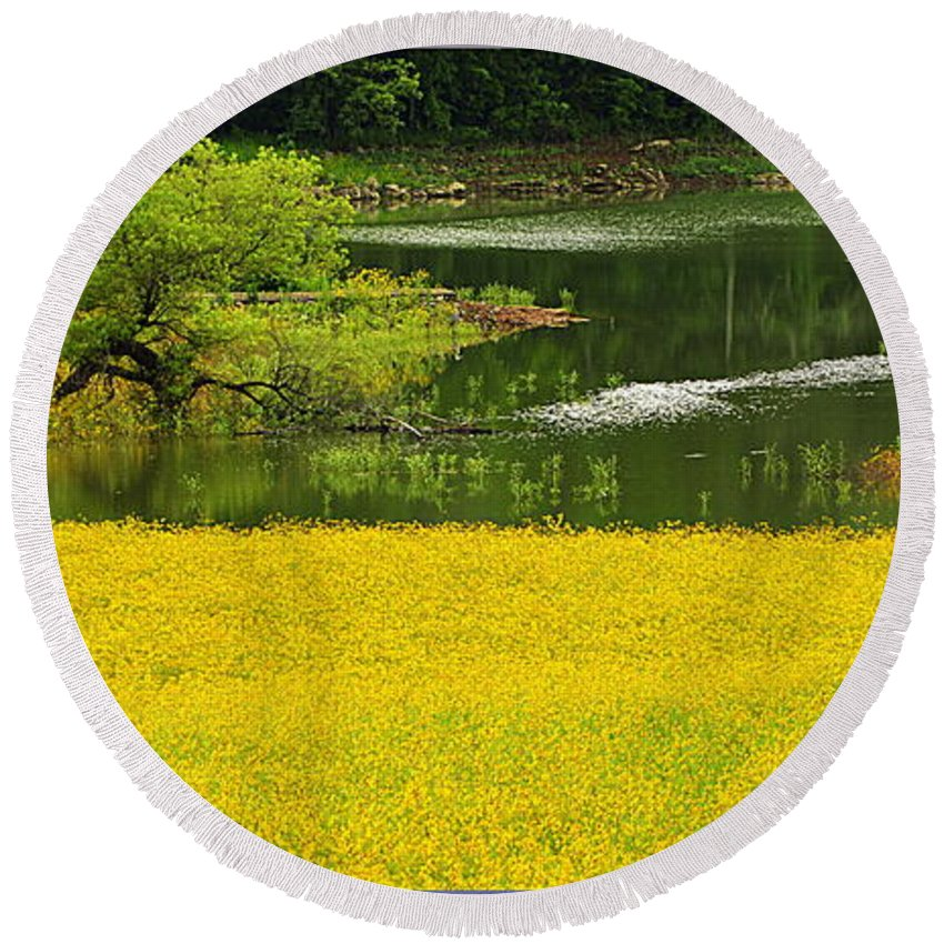 Landscape Round Beach Towel featuring the photograph Susans Gold Pond by Kathy Barney