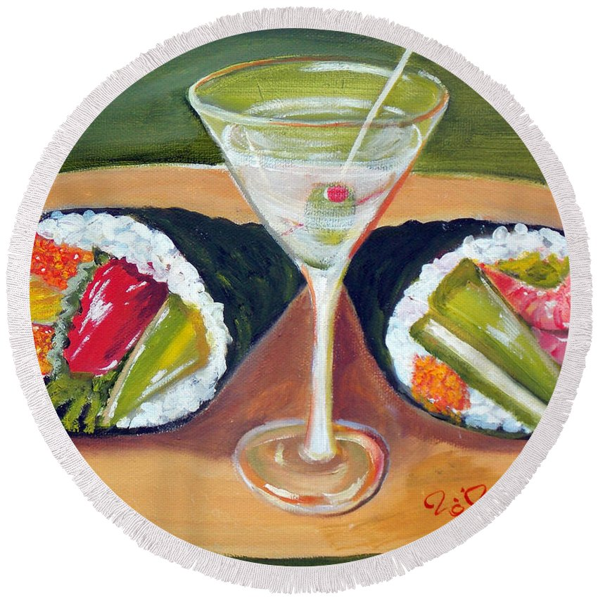 Japan Round Beach Towel featuring the painting Sushi 1 by To-Tam Gerwe