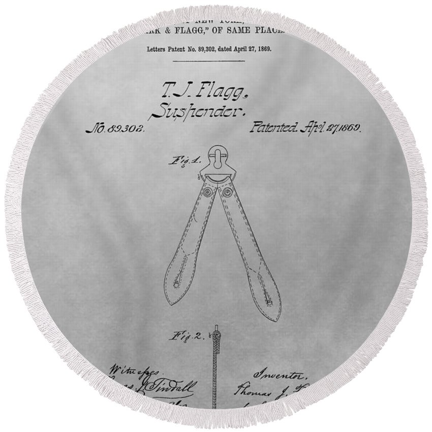 Suspender Patent Drawing Round Beach Towel featuring the drawing Suspender Patent Drawing by Dan Sproul