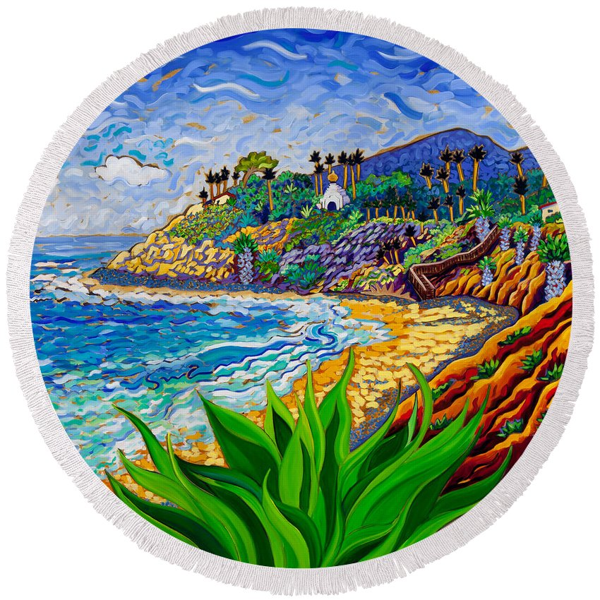 Encinitas Round Beach Towel featuring the painting Swami's Agave by Cathy Carey