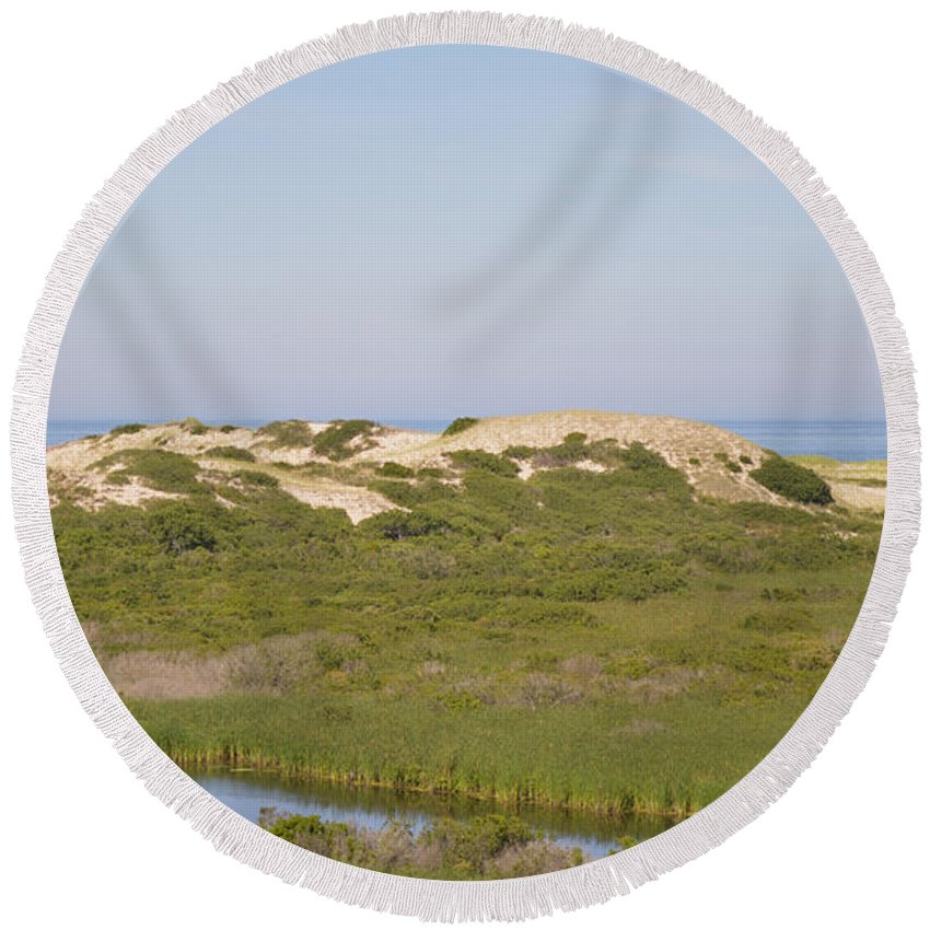 Cape Cod Round Beach Towel featuring the photograph Swamp And Dunes by Meandering Photography