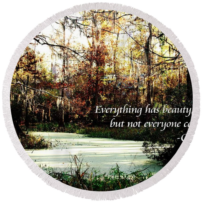 Round Beach Towel featuring the photograph Swamp Beauty by Anthony Walker Sr