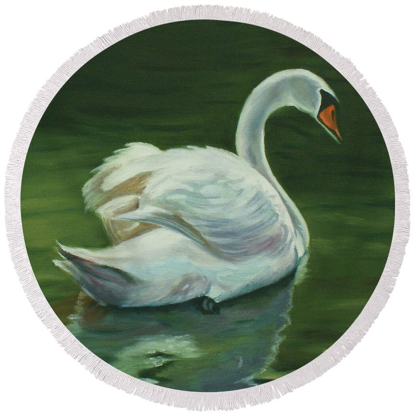 Swan Round Beach Towel featuring the painting 'swanderful by Jill Ciccone Pike