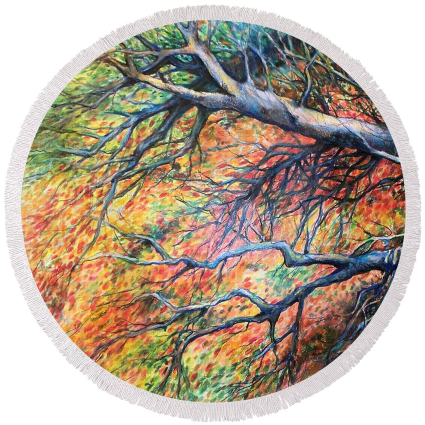 Landscape Round Beach Towel featuring the drawing Sway Dancing Trees by Linda Shackelford