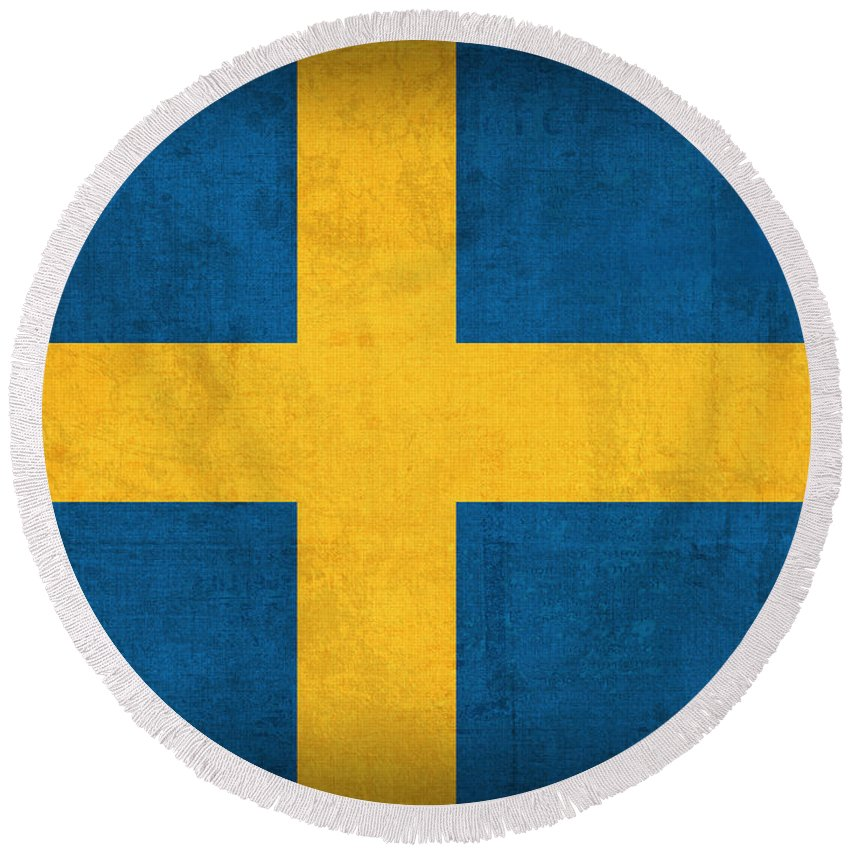 Sweden Flag Vintage Distressed Finish Round Beach Towel featuring the mixed media Sweden Flag Vintage Distressed Finish by Design Turnpike