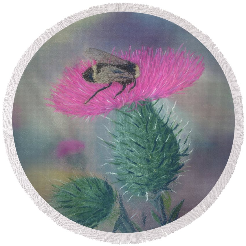 Thistle Round Beach Towel featuring the painting Sweet And Prickly by Lynn Quinn