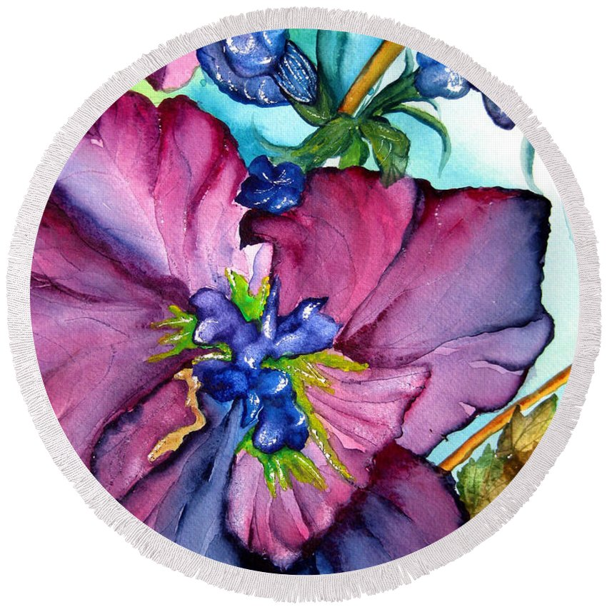 Wildflowers Round Beach Towel featuring the painting Sweet And Wild In Turquoise And Pink by Lil Taylor
