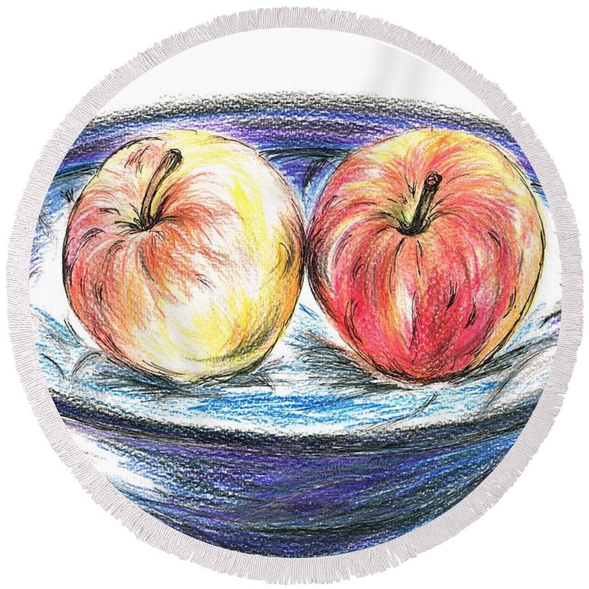 Teresa White Round Beach Towel featuring the drawing Sweet Crunchy Apples by Teresa White