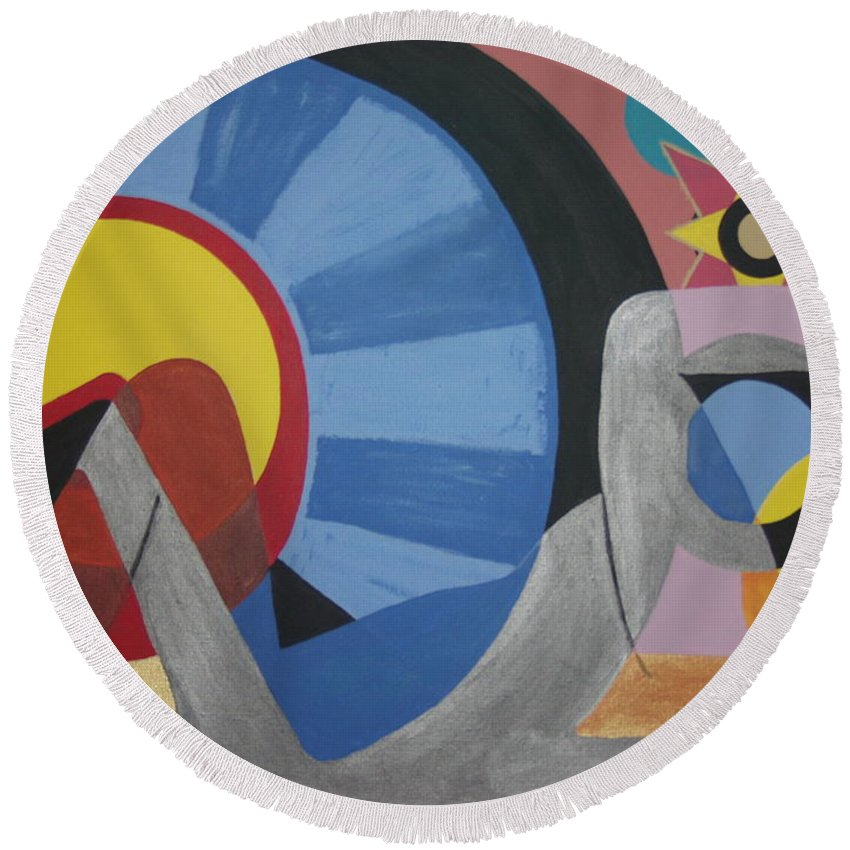 Abstract Round Beach Towel featuring the painting Sweet Dreams are made of these by Dean Stephens