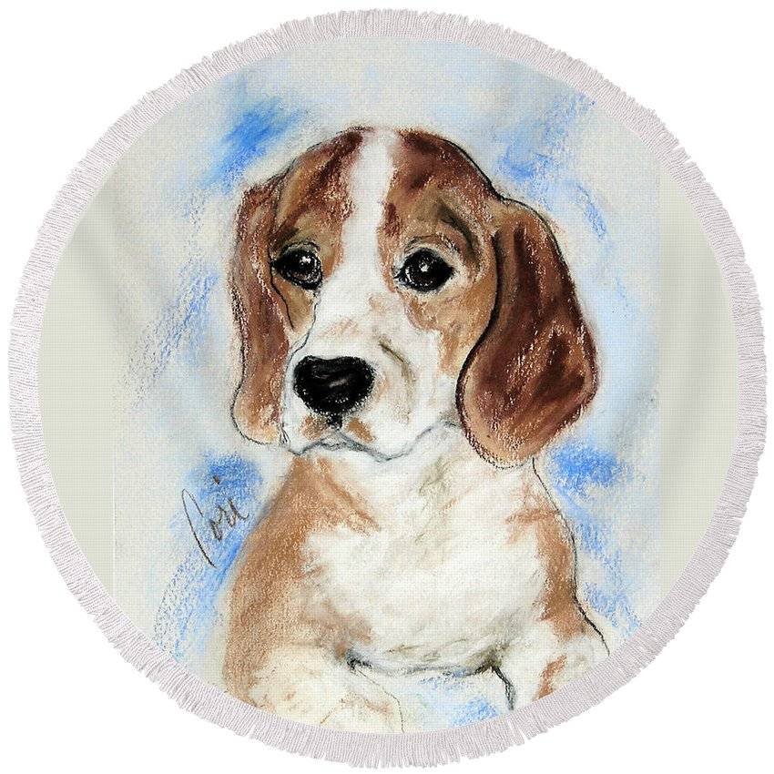 Dog Round Beach Towel featuring the drawing Sweet Innocence by Cori Solomon