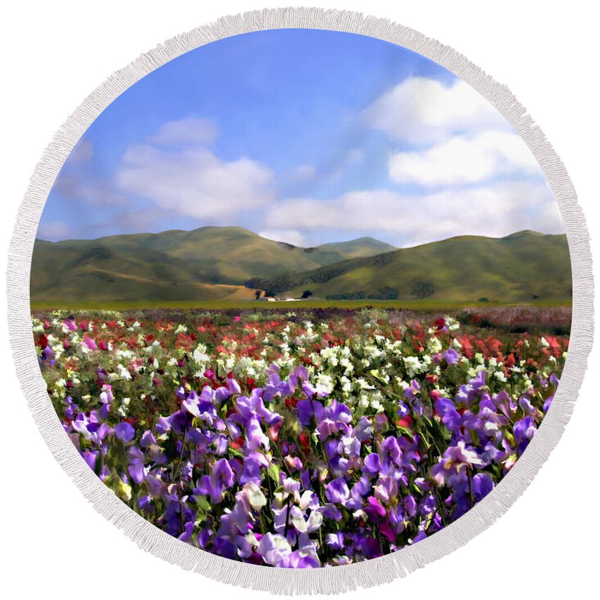 Flowers Round Beach Towel featuring the photograph Sweet Peas Galore by Kurt Van Wagner