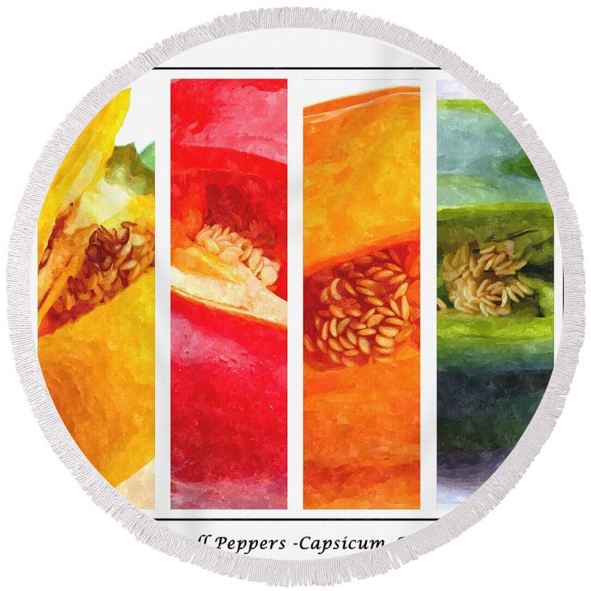 Sweet Pepper Watercolorsweet Peppers Round Beach Towel featuring the digital art Sweet Pepper Watercolor by Barbara Griffin
