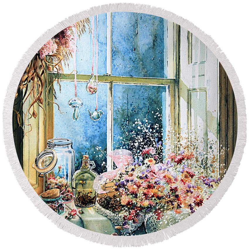 Window Round Beach Towel featuring the painting Sweet Scents To Savor by Hanne Lore Koehler