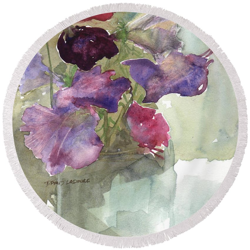 Sweetpeas Round Beach Towel featuring the painting Sweetpeas 3 by David Ladmore