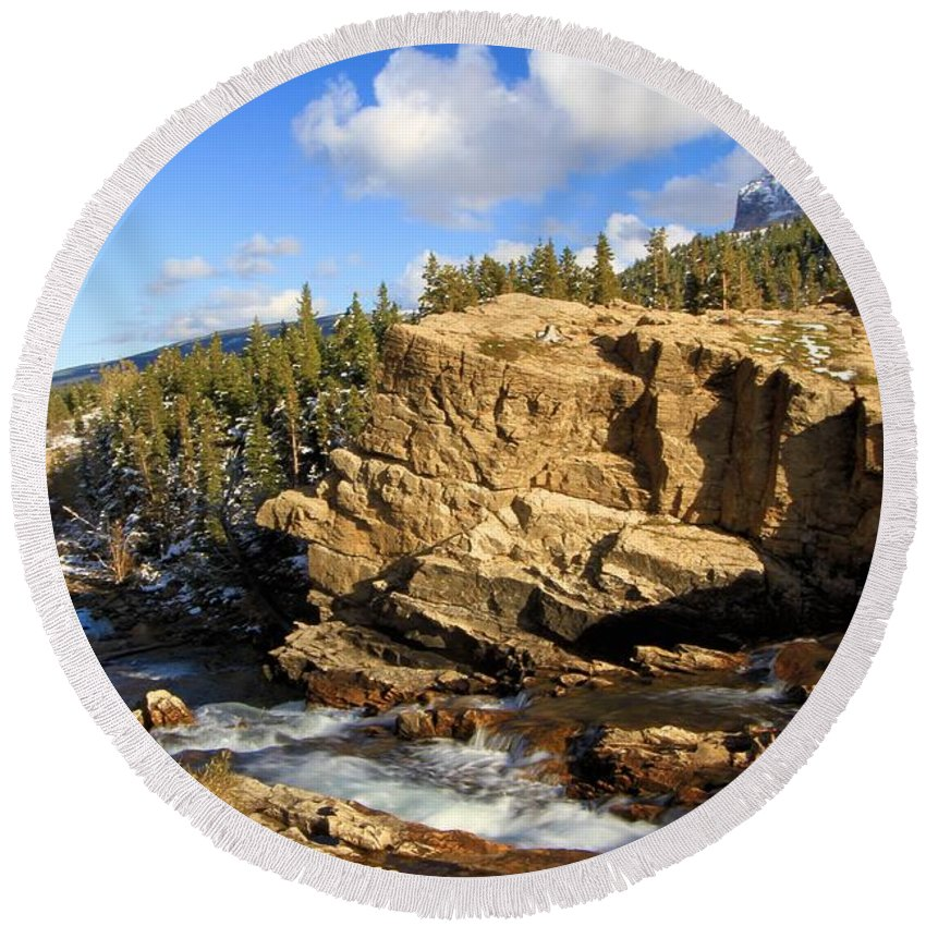 Glacier National Park Round Beach Towel featuring the photograph Swiftcurrent Creek by Adam Jewell