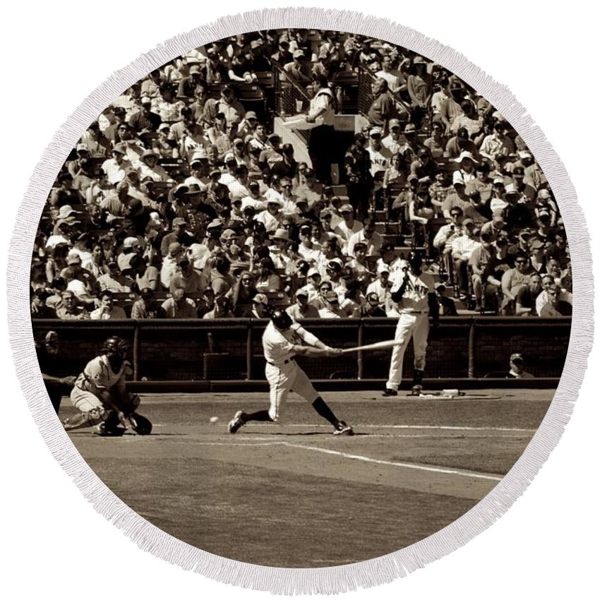 Baseball Round Beach Towel featuring the photograph Swing And A Miss by Eric Tressler