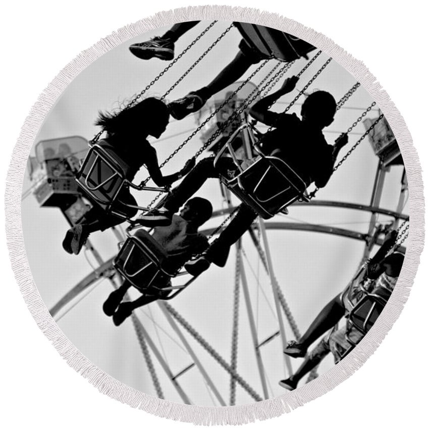 Merced County Fair Round Beach Towel featuring the photograph Swinging Good Time by Eric Tressler