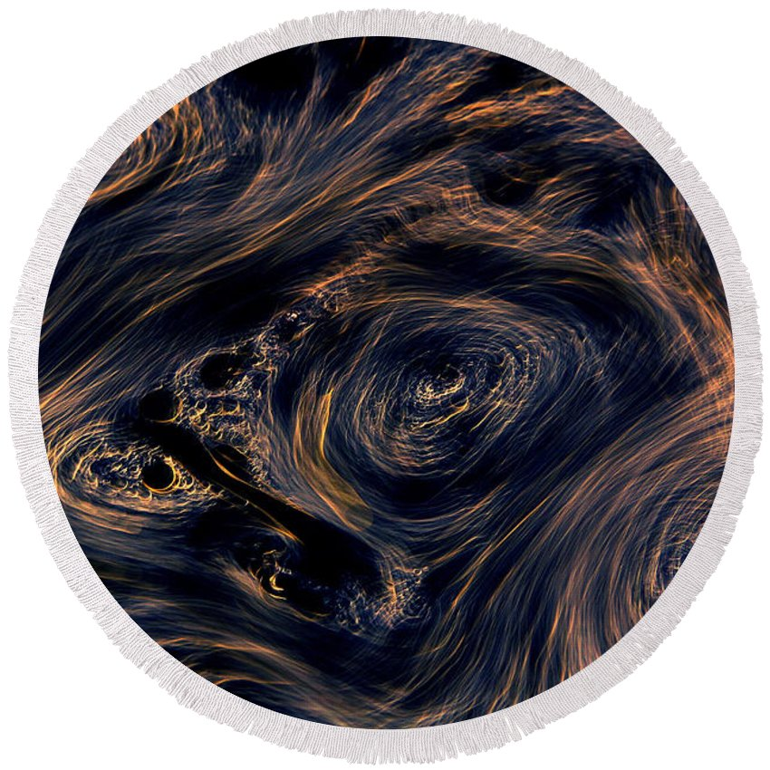 Abstract Round Beach Towel featuring the photograph Swirling 4 by Robert Woodward