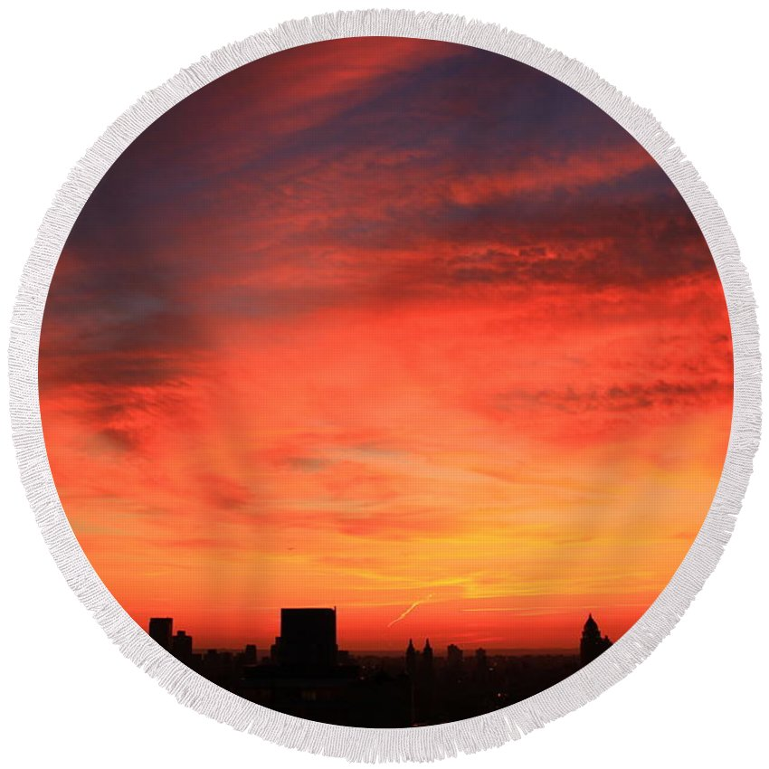 New York City Round Beach Towel featuring the photograph Swirling Clouds by Catie Canetti
