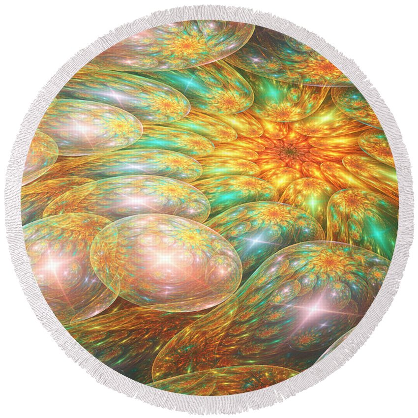 Oil Round Beach Towel featuring the digital art Swirling Oil Spill by Martin Capek