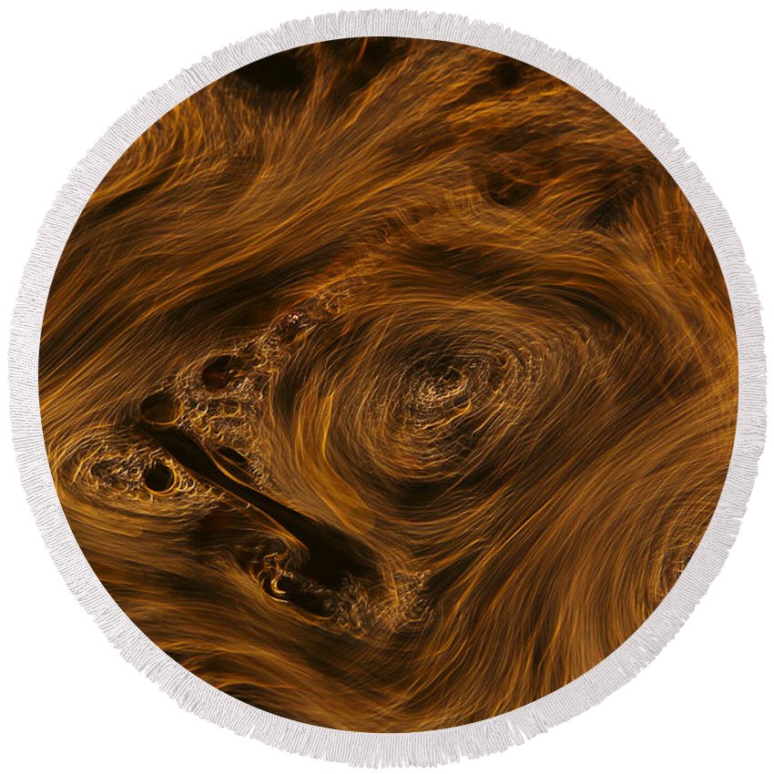 Abstract Round Beach Towel featuring the photograph Swirling by Robert Woodward