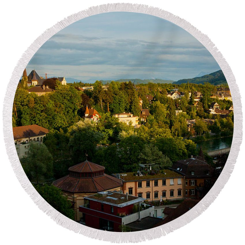Bern Round Beach Towel featuring the photograph Switzerland Countryside by Anthony Doudt