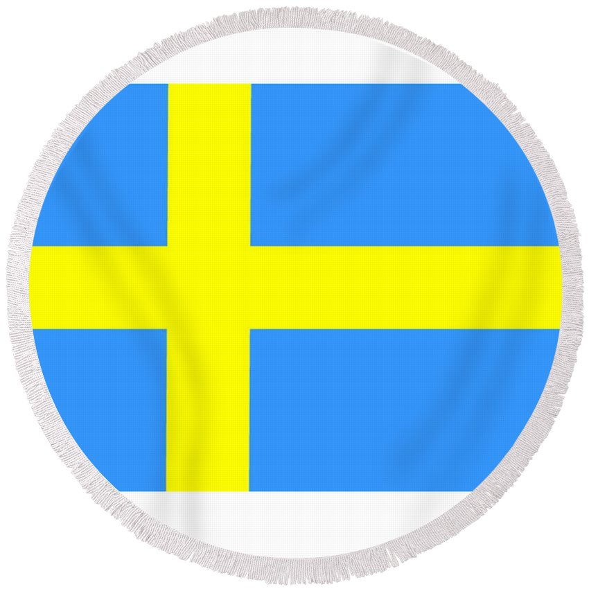 Sweden Flag Round Beach Towel featuring the digital art Sweden Flag by Frederick Holiday