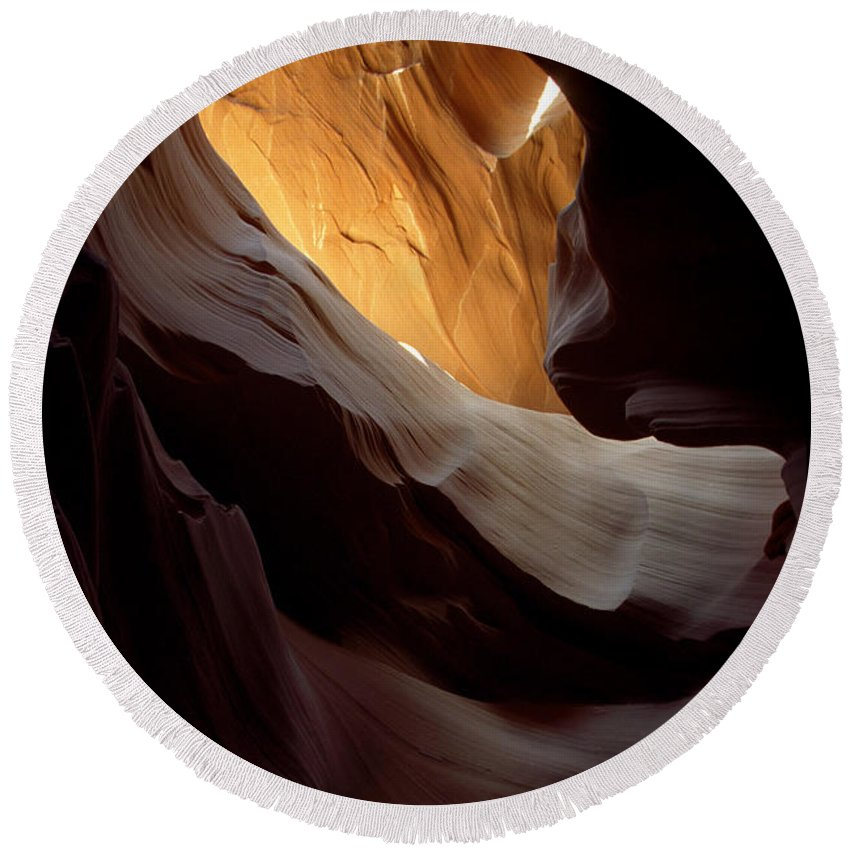 Slot Canyons Round Beach Towel featuring the photograph Swopes by Kathy McClure