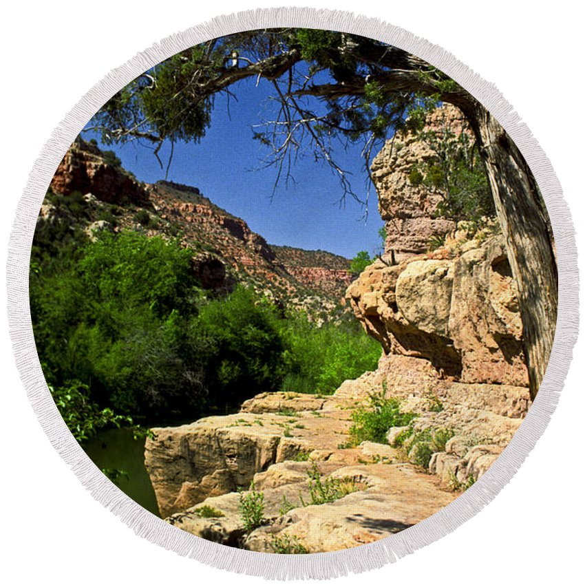Arizona Round Beach Towel featuring the photograph Sycamore Canyon by Kathy McClure