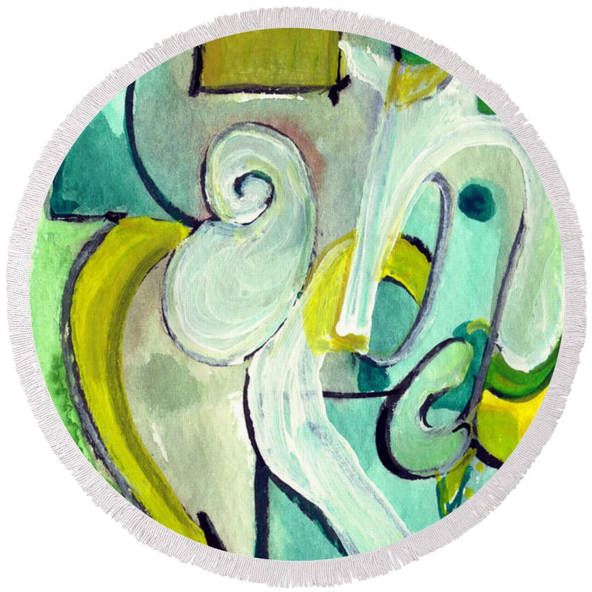 Abstract Art Round Beach Towel featuring the painting Symphony In Green by Stephen Lucas