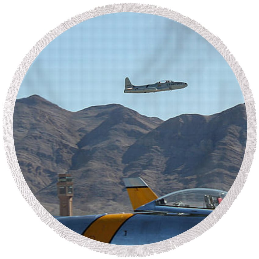 T33 Round Beach Towel featuring the photograph T-33 Shooting Star Flight Over Two Sabre's by Carl Deaville