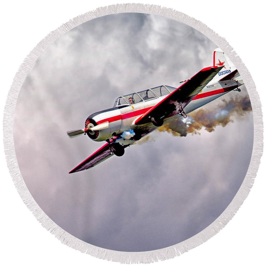 Airlplane Round Beach Towel featuring the photograph T-6 Texan by Jerry Fornarotto