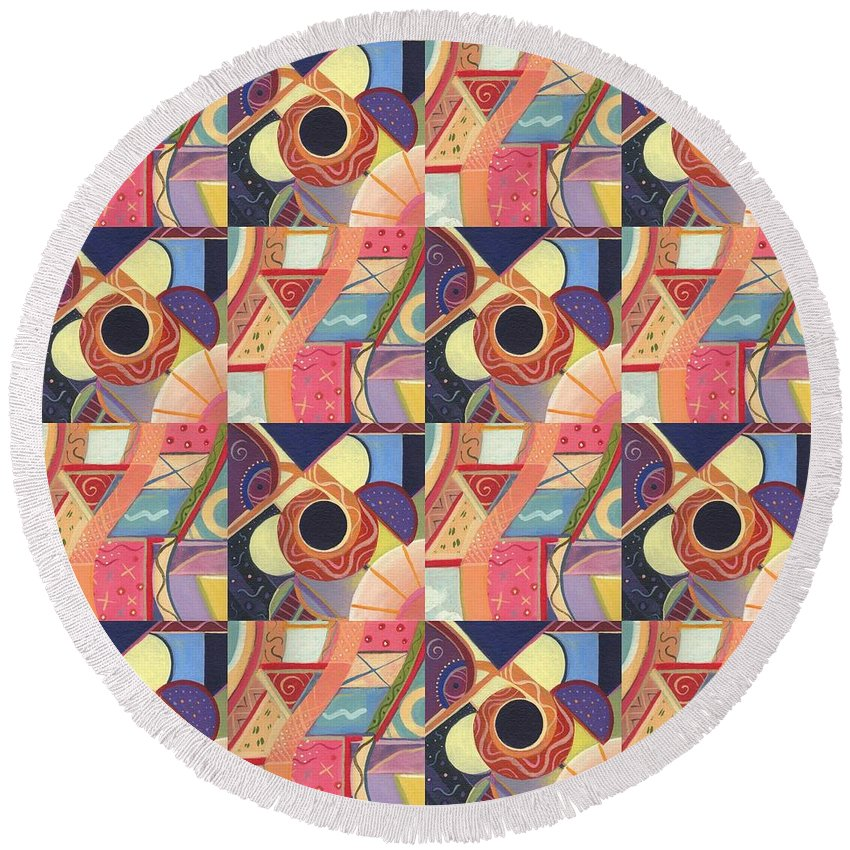 Abstract Round Beach Towel featuring the painting T J O D Tile Variations 19 by Helena Tiainen