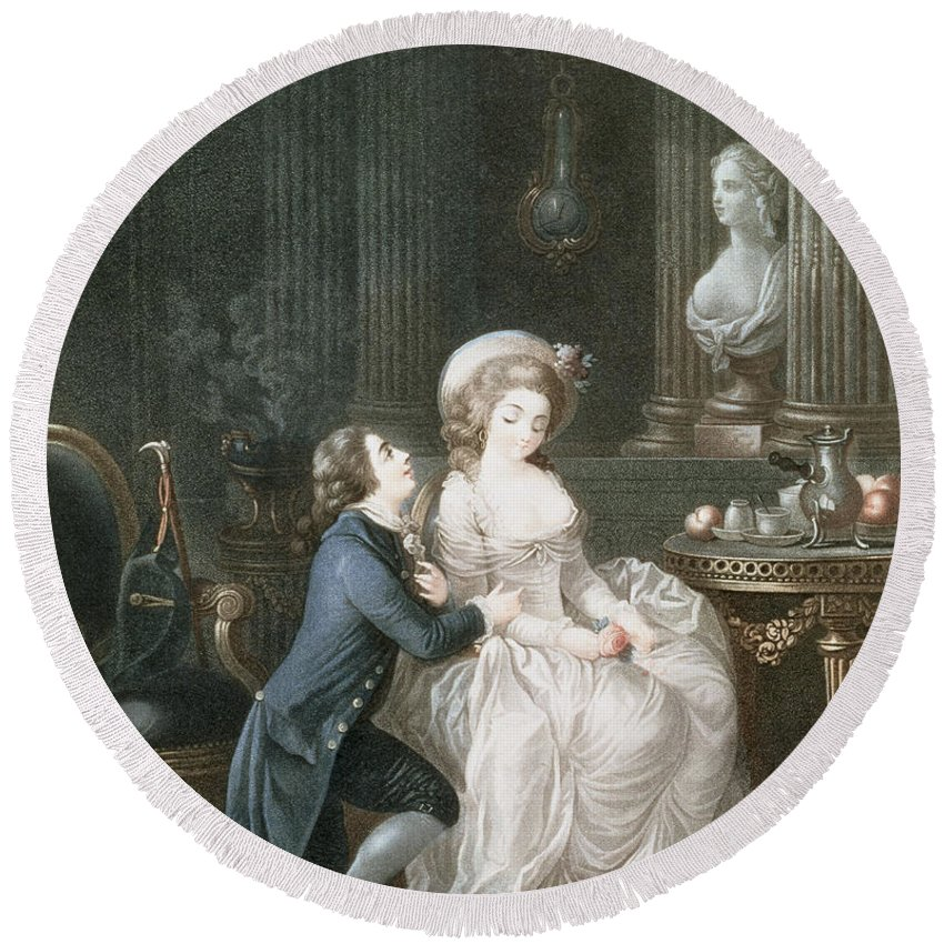 The Lover Is Heard Round Beach Towel featuring the drawing T.2342 Lamant Ecoute, 1775 by Louis Marin Bonnet