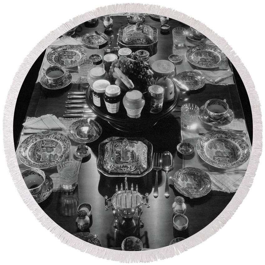 Interior Round Beach Towel featuring the photograph Table Settings On Dining Table by The 3