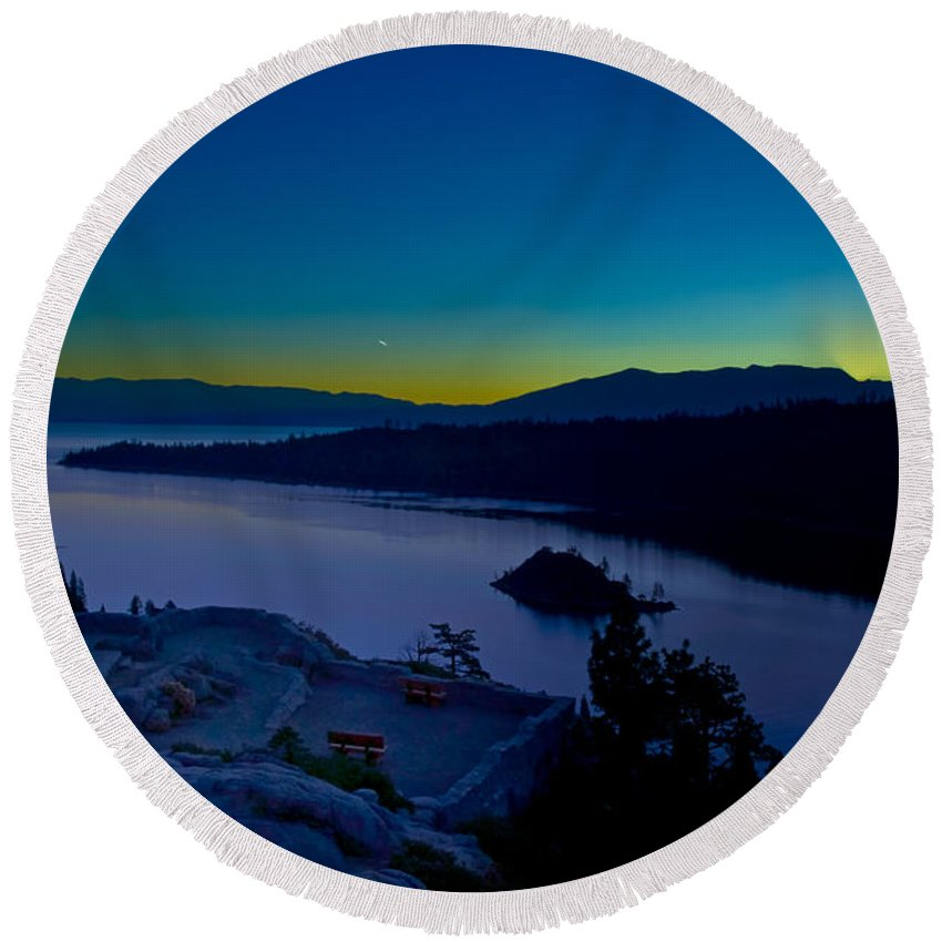 Lakes Round Beach Towel featuring the photograph Tahoe Sunrise by Jim Thompson