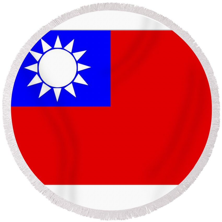 Taiwan Round Beach Towel featuring the digital art Taiwan Flag by Frederick Holiday