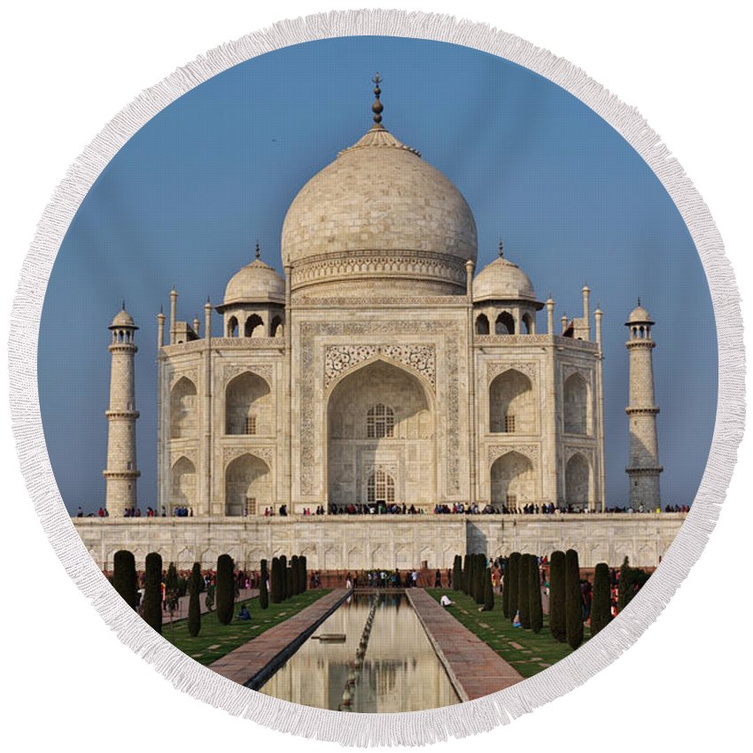Agra Round Beach Towel featuring the photograph Taj Mahal by Ivan Slosar