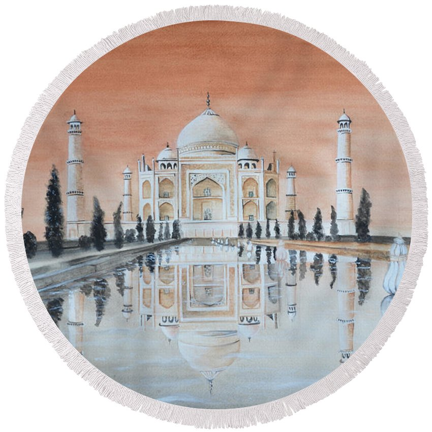 Taj Mahal Round Beach Towel featuring the painting Taj Mahal by Swati Singh