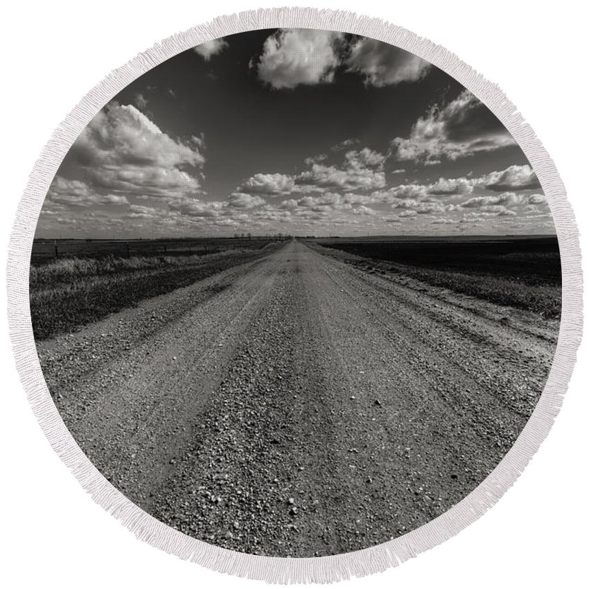 Suth Dakota Round Beach Towel featuring the photograph Take A Back Road Bnw Version by Aaron J Groen