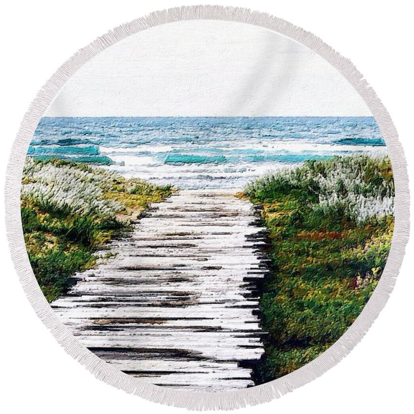 Wood Round Beach Towel featuring the painting Take Me To The Sea by Florian Rodarte
