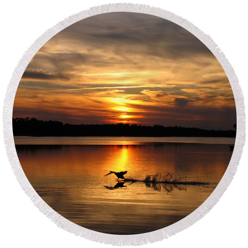 Sunset Round Beach Towel featuring the photograph Take Off Forge Pond by Roger Becker