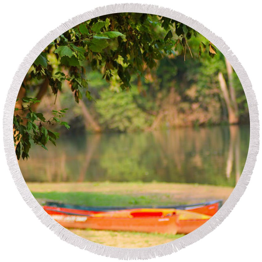 Tree Round Beach Towel featuring the photograph Taking A Break by Karen Wagner