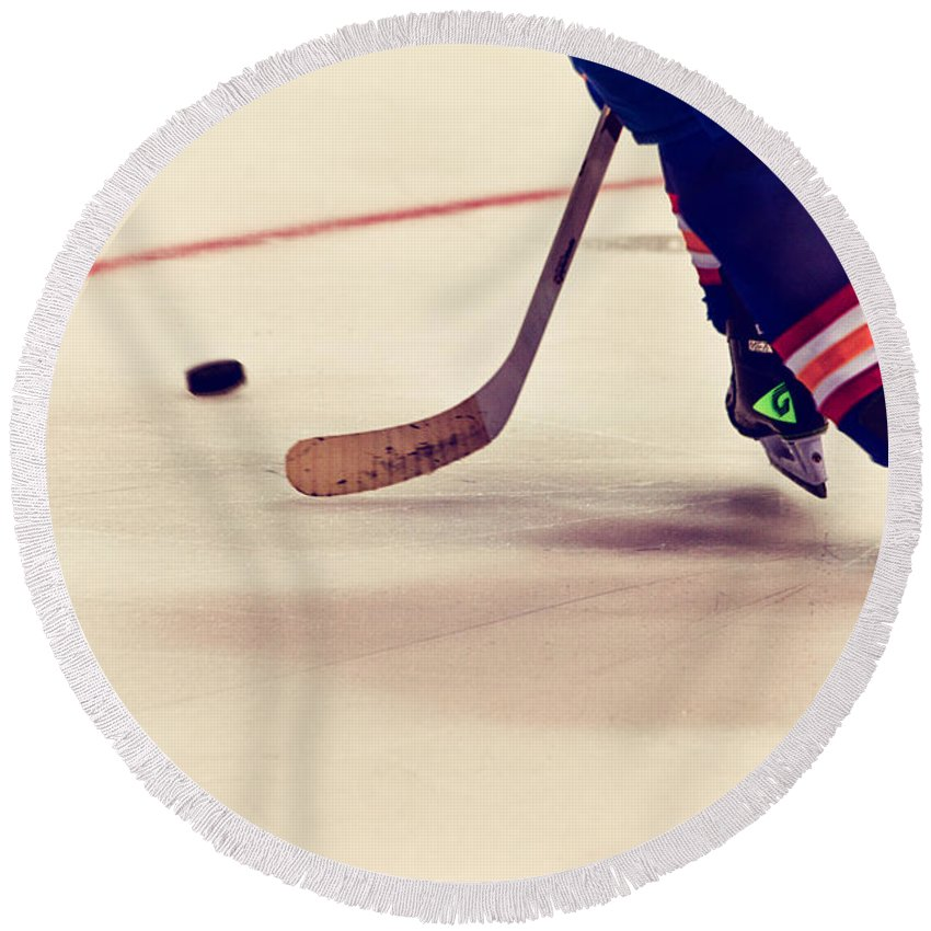 Hockey Round Beach Towel featuring the photograph Taking It In by Karol Livote
