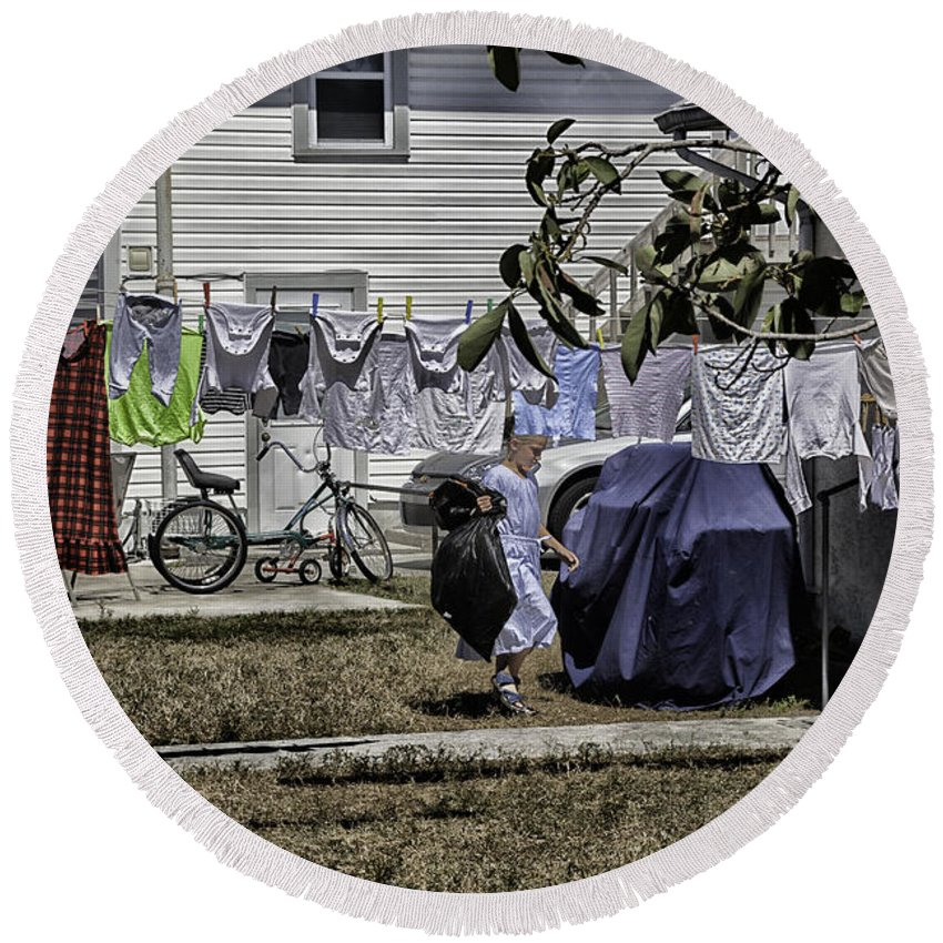 Amish Round Beach Towel featuring the photograph Taking Out The Garbage - Sarasota - Florida by Madeline Ellis
