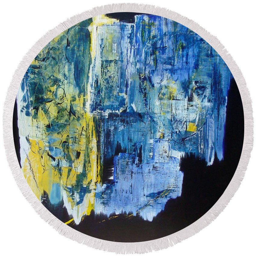 Contemporary Round Beach Towel featuring the painting Tales Of A City by Linda Wimberly