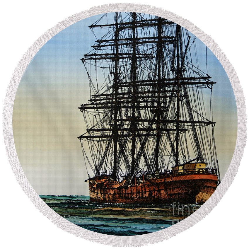 Tall Ship Round Beach Towel featuring the painting Tall Ship Beauty by James Williamson