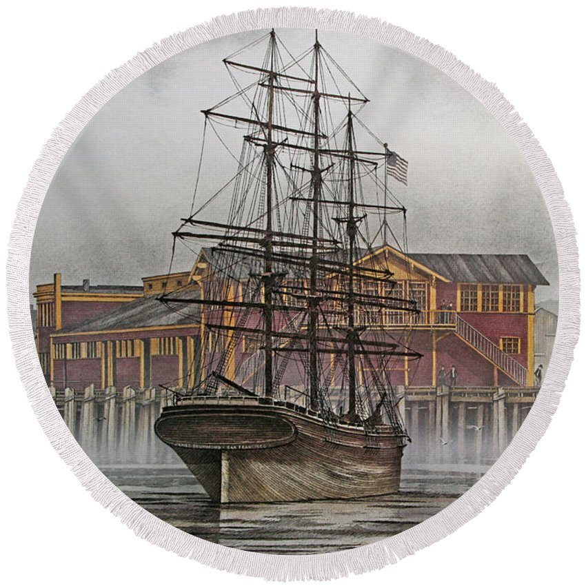 Tall Ship Round Beach Towel featuring the painting Tall Ship Waterfront by James Williamson